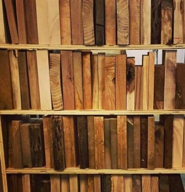 Hardwood bookcase concept installation